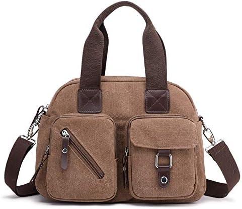 H/A 2020 New Shoulder Bag Fashion Wild Fashion Simple high-Capacity Multi-Function Trip Travel Diagonal Canvas Bag MENGB (Color : Coffee, Size : 30X23X14CM)