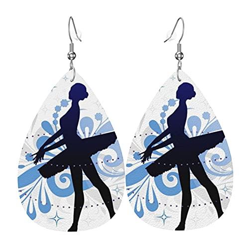 Ballerina orecchini in ecopelle goccia ciondola orecchini a goccia per le donne ragazze gioielli regalo di festa di compleanno di San Valentino