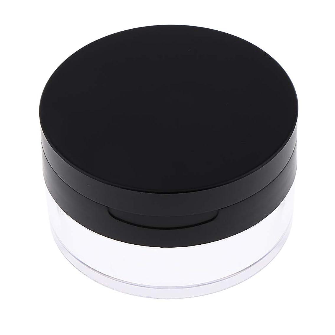 衰える生産的ピークP Prettyia パウダーケース ミラー パフ付 20g 詰替え 携帯用 2色選べ - ブラック
