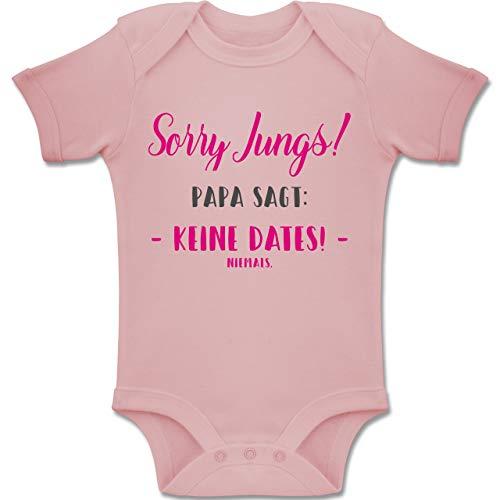 Shirtracer Sprüche Baby - Sorry Jungs Papa SAGT Keine Dates - 1/3 Monate - Babyrosa - Babykleidung Jungen lustig - BZ10 - Baby Body Kurzarm für Jungen und Mädchen