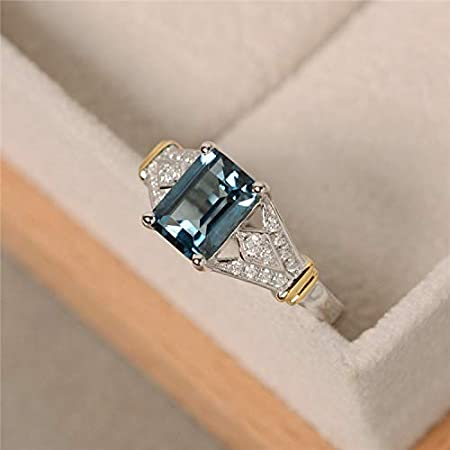 Vintage 14 Karat White Gold and Simulated Blue Topaz Ring Size 7