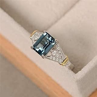 Metmejiao Vintage Women Aquamarine Gemstone 14k White Gold Filled Wedding Bridal Band Ring (6)