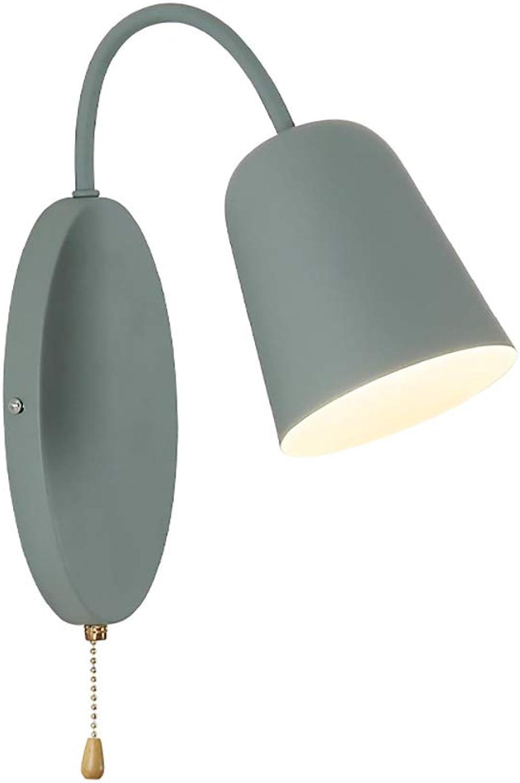 Modern Minimalistischen Bettlampe Wandleuchte Kompakte Zierliche Metall Bettlampe Wandlampe mit Zugschalter Leseleuchte E27 Fassung für Schlafzimmer Studieren Büro Hotel,Blau