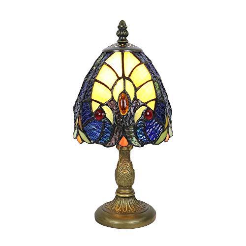 Tokira Tiffany Barroco Amarillo Lámpara de Mesa 6 Pulgadas, Dormitorio Acogedor Vidrio Manchado Luz de Noche, Mini Lámpara de Decoración de La sala de Estar, Bombilla LED Gratis