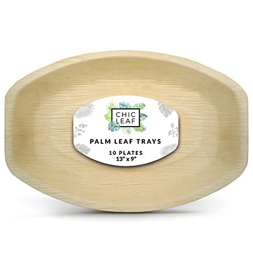 Chic Leaf Palm Leaf Platter Disposable Bamboo Plates 13'x9' (10 pk) - Strong Compostable Tray or Palm Plate for Charcuterie, Cheese Boards, Fruit - Disposable Party Trays for Fast Clean Up