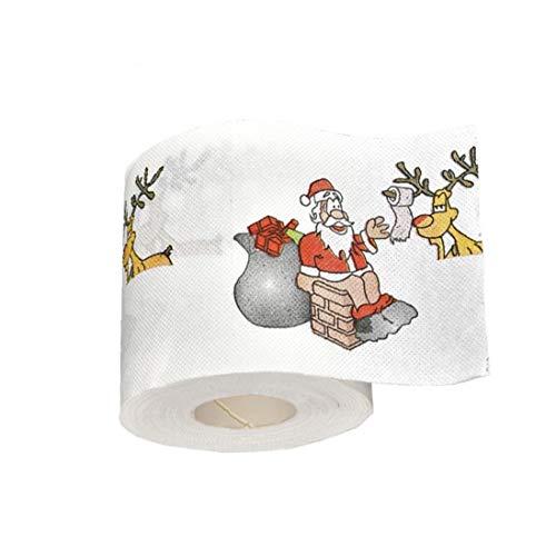 Rrunzfon Regalos De Año Nuevo 1pcs 22m / Papel Higiénico Reno De Papá Noel De Navidad Papel De Navidad para El...