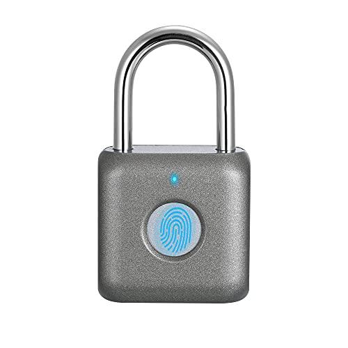 Fingerabdruck-Vorhängeschloss Mini Smart Vorhängeschloss Keyless USB-Aufladung Biometrisch Hohe Sicherheitsverriegelung für Gym Locker, Shed Locker, Lagereinheiten, Gepäck, Koffer (Grau)