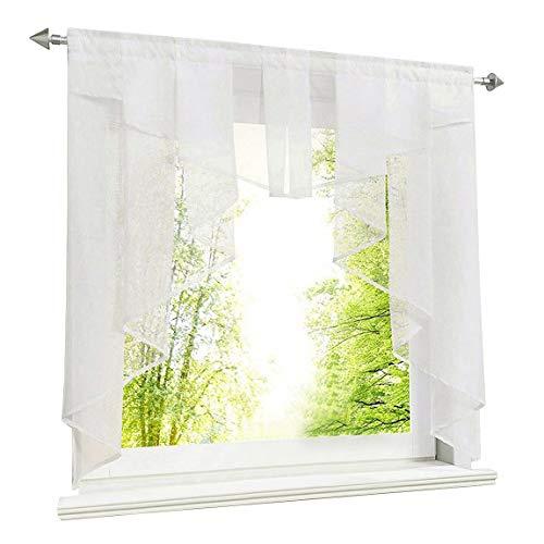 LiYa Scheibengardine mit Falten Kleinfenster Gardine Tunnelzug Voile Kurzstore Fenstergardine (BxH 120x125cm, Weiß)