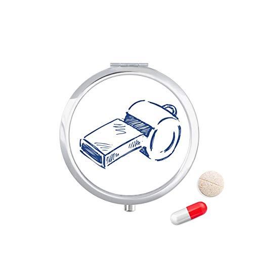 DIYthinker Cartoon Voetbal Fluitje Blauw Voetbal Reizen Pocket Pill Case Medicine Drug Opbergdoos Dispenser Spiegel Gift