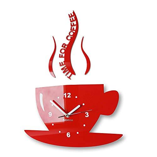 FLEXISTYLE Tasse Time for Coffee (Zeit für Kaffee) Moderne Küche Wanduhr rot, 3D römisch, wanduhr deko