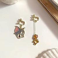 猫とマウスのイヤリングのイヤークリップ、女の子のためのすべてのマッチの長いダングリングイヤリング、大きいダングリングイヤリング、レディースジュエリー、サイズ:3.5 / 5.8 cm(寛容:0.1-0.5 cm) (Metal Color : Big head ear clip)