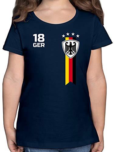 Fußball-Europameisterschaft 2020 Kinder - WM Fan-Shirt Deutschland - 128 (7/8 Jahre) - Dunkelblau - wm Shirt Kinder 2018 - F131K - Mädchen Kinder T-Shirt