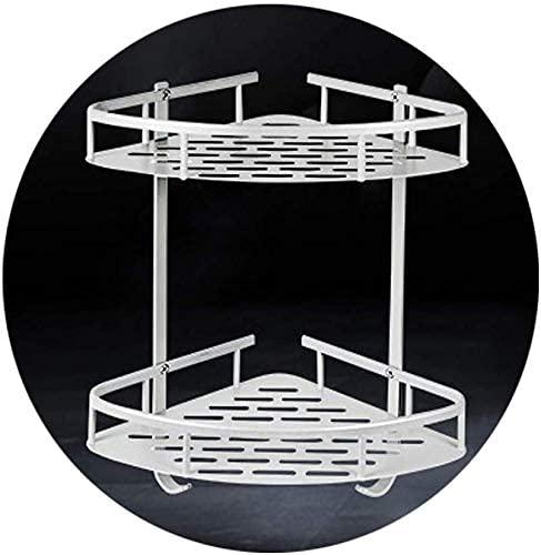 MERCB H.yina - Estantería esquinera para baño, sin taladro, aluminio, sin tornillos, 2 niveles