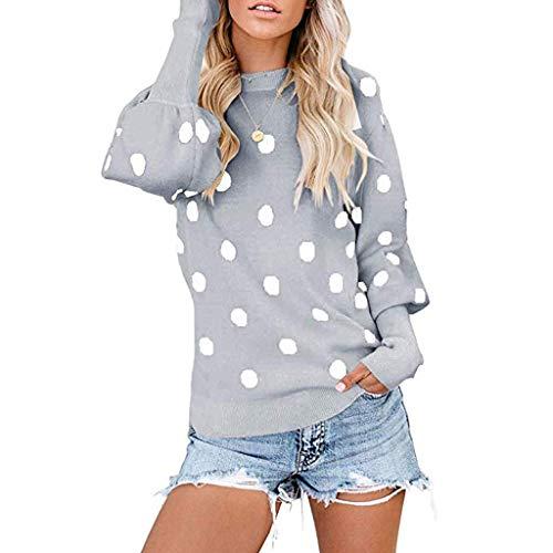Damen Sommer Herbst T-Shirt O-Ausschnitt Lange Ärmel Hemd Lose Beiläufige Frauen Sexy Gradient Punkt Bedruckt Stretch Jahrgang Weste Yoga Tee Baumwolle Polyester Sweatshirt Bluse Tops (EU:38, Grau)
