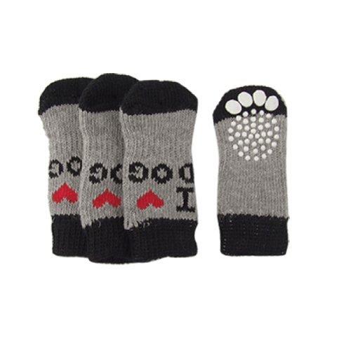 SODIAL(R) 4 x Chaussettes de chien douces chaudes antiderapantes en acrylique