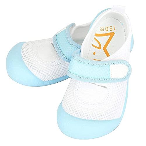 [ハッピークローバー] ムーンスター はだしっこ【マジックテープタイプ】 日本製 メッシュ素材 上履き 足の健康を守る歩育シューズ 靴下履きにも対応 (18.5cm、サックス)