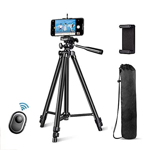 Trípodes para cámara, trípode ajustable de 52 pulgadas para teléfonos, aluminio ligero portátil, con soporte para teléfono y obturador remoto inalámbrico, trípode para teléfonos/cámara/DSLR/proyector