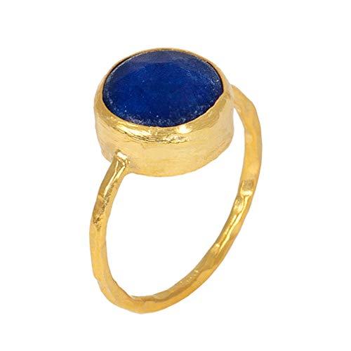Sarah Bosman Anillo de mujer oro lapislázuli – Anillo de mujer chapado en oro con piedras preciosas azules – 11 mm de diámetro – Tamaño 56 – SAB-R03LAPISg-56