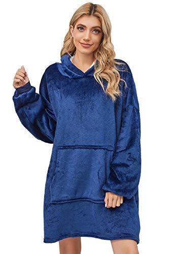 Tuopuda Hoodie Sherpa Robe Couverture Chaud Sweat à Capuche Hiver Robes de Chambre Super Doux Adulte Grande Hoodie Épaisse Peignoir Plush Unisexe Sweatshirt