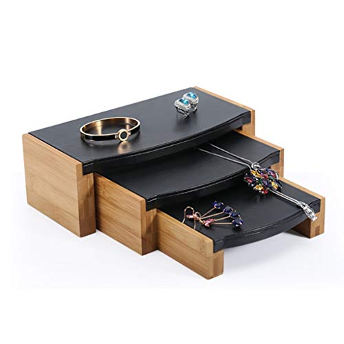 XYZMDJ Conjunto de fibra de bambú PU Cuero Colgante Collar Collar Soporte Pulsera Anillo Anillo Pendiente Joyería Estante