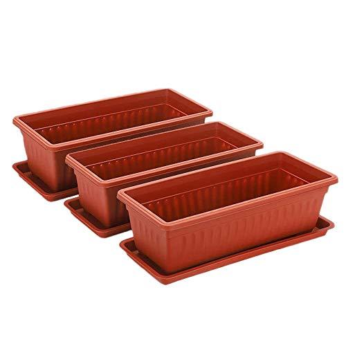 Beada 3 Packs 19.6 Inches Flower Window Box Plastic Vegetable Planters for Windowsill, Patio, Garden, Home Decor, Porch