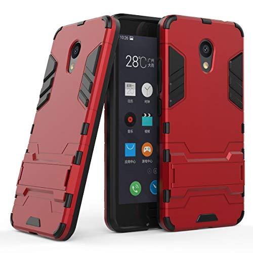 tinyue® Handyhülle für Meizu M5C, Hülle 2 in 1 Material Harte Schwer doppelte kratzfester Handyfall im Freienhandyfall Iron Man Rüstung mit Kickstand Hülle, Rot