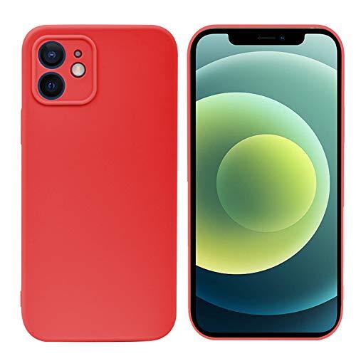 Weideworld Cover per iPhone 12 + 2 x Vetro Temperato, Ultra Sottile Custodia Morbida in Silicone [Protezione Fotocamera] Cover per iPhone 12 6.1'', Rosso