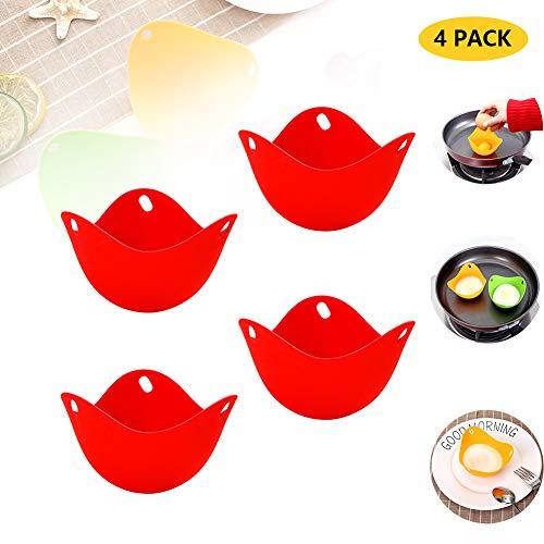 Huevos escalfadores de silicona, huevos escalfadores, moldes antiadherentes para microondas o estufa, huevos para cocinar huevos escalfados escalfados, 4...
