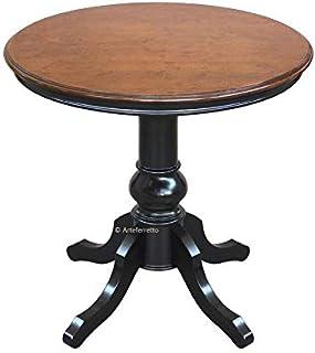 Arteferretto Table de thé ou de Salon Ronde avec Pied Central, en Bois Massif, 80 cm diamètre. Style Classique Traditionne...