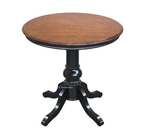 Arteferretto Table de thé ou de Salon Ronde avec Pied Central, en Bois Massif, 80 cm diamètre. Style Classique Traditionnel, Finition Bicolore.