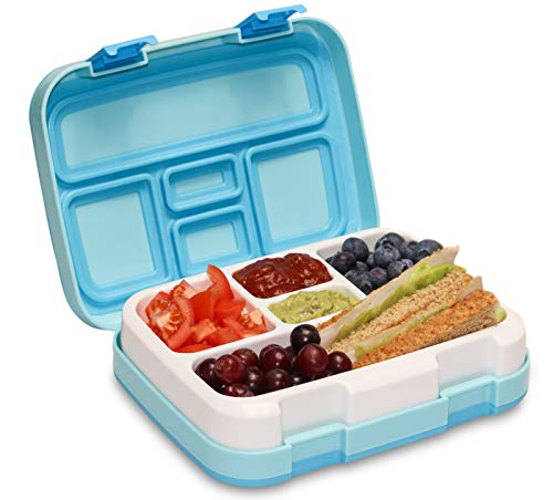 Lunchbox mit 5 Fächern, Kinder-Bento-Stil, BPA-frei, Kunststoff-Lunchbox, Lebensmittel-Aufbewahrungsbehälter mit auslaufsicherem Silikondeckel, mit Göffel von Munchbox cool blue