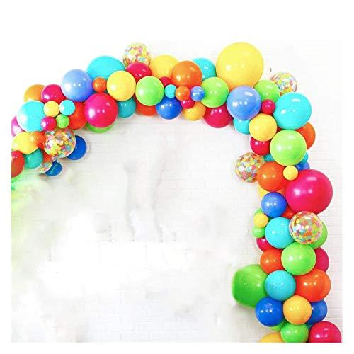 JSJJAUA balloon Party Balloons Garland Arch Kit, Fiesta Rainbow Party Balloons, Red Yellow Blue Balloon Decoration Strip (Color : 96pcs)