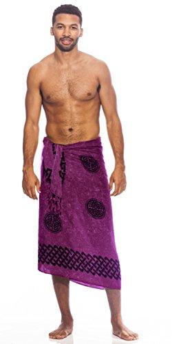 1 World Sarongs Mens Celtic Sarong in Interlace Knotwork Royal Purple