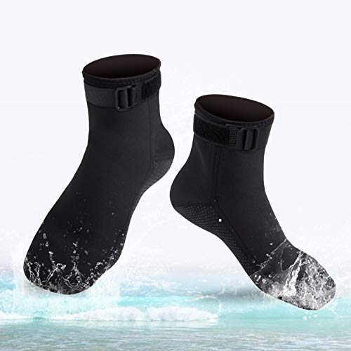 ReHaffe Diving Socks Neoprene, 3mm Wetsuit Booties for Men Keep Warm Anti Slip Flexible Wetsuit Socks Unisex for Adutls Younth Scuba Swimming Surfing and Beach Water Sports