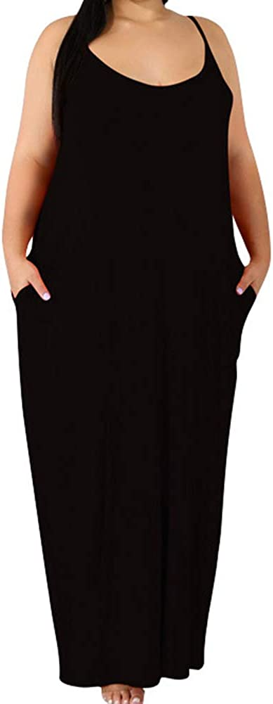 Plus Size Spaghetti Dresses - Sexy Summer Long Maxi Dress with Pockets Beach Causal