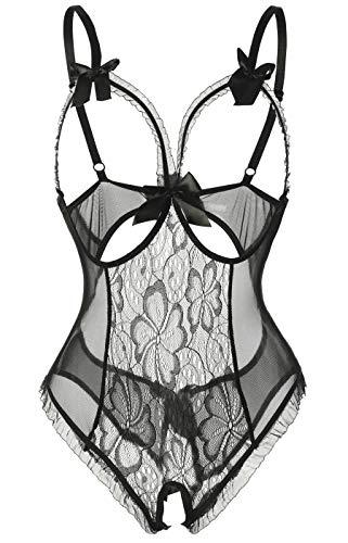 Acramy Damen Babydoll Dessous Rückenfrei Lingerie Bodysuit Reizwäsche Netz (L, B-schwarz)