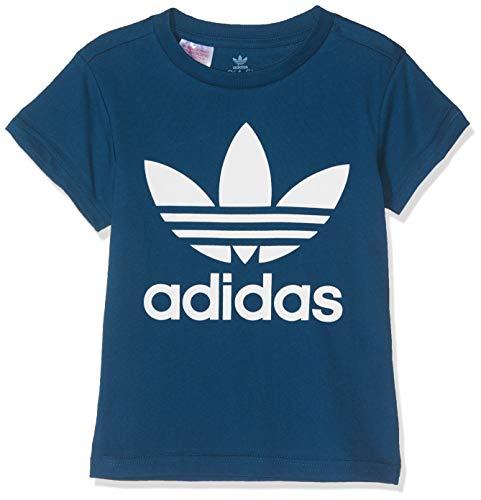 adidas Maglietta Unisex per Bambini con Trifoglio, Unisex - Bambini, T-Shirt, DV2859, Legend Marine/Bianco, 116