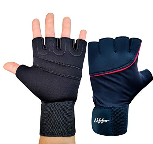 Liffo® Sports Gym Gloves for Men Women with Wrist Support Band for Weight Lifting and Exercise