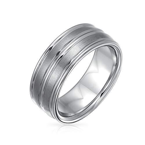 Bling Jewelry Ampio Anello per la Fede Nuziale in Titanio Opaco Spazzolato a Doppio scanalatura Silver Tone per Uomo Comfort Fit 8MM
