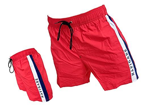 costume mare uomo napapijri Navigare Boxer Mare Costume Uomo Pantaloncini da Bagno Swim Short Piscina (98345 Red
