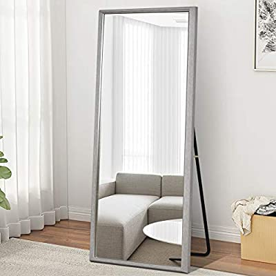 "MIRRORTECH Full Length Mirror 65"" x 22"" Floor Mirror with Standing Bracket/Wall Mounted Mirror Home Decor Mirror-Grey (LJ010)"