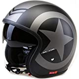 Casco aperto con visiera VIPER RS-V06 STAR moto scooter omologato ECE 22.05 Touring casco interno visiera (stella nera opaca, XL)