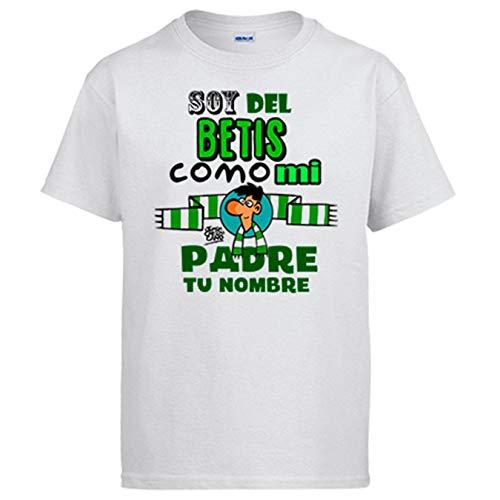 Camiseta Frase Soy del Betis como mi Padre Personalizable con Nombre ilustrado por Jorge Crespo Cano - Blanco, XXL