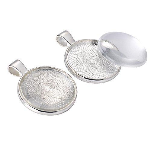 24 Stück Anhänger Lünette Silber überzogene Runde Tabletts mit 25 mm 24 Stück runde Glas Kuppel Fliesen klar Cameo