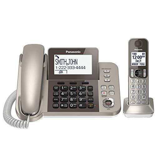 Telefone Panasonic com fio / sem fio com Bluetooth e máquina de atender Link2Cell, Com fio/sem fio, Champagne Gold, 1 Handset