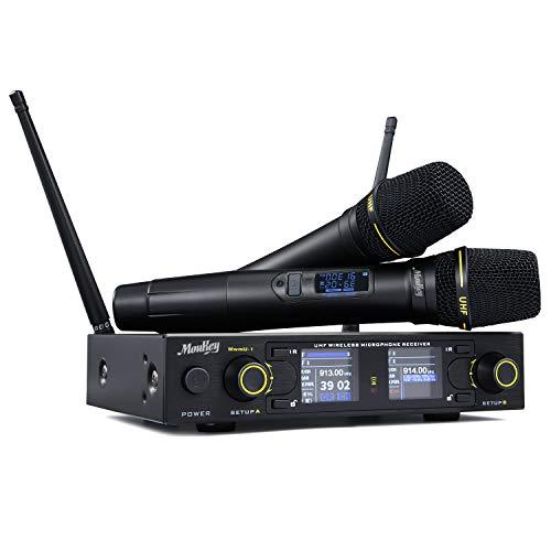 Moukey Wireless UHF Funkmikrofon System 260 Kanäle Professionelles dynamisches drahtloses Dual Handmikrofon MwmU-1, Anti-Interferenz, für Karaoke, Party, DJ, Kirche, Hochzeit