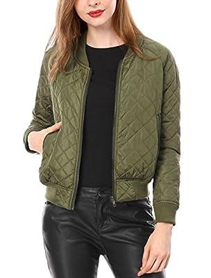 Allegra K Women's Raglan Long Sleeves Quilted Zip Up Bomber Jacket Green M (US 10) from Allegra K