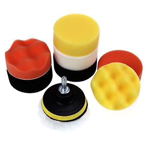 VORCOOL Compound Drill Buffing Schwamm Pads Kit für Car Schleifen Polieren Sealing Glaze Waxing Professionelle Wolle und Schaumstoff Pad Buffing 10PCS 3Inch