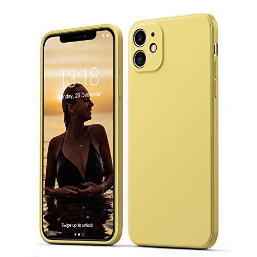 GOODVISH Funda de Silicona Líquida Ultrafina para iPhone 11 6,1 Pulgadas, Protección de la Pantalla y la Cámara, Especial Diseño de Borde Recto, Disipación de Calor Rápido (Amarillo)