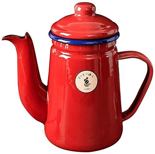 Bouilloire induction Céramique Bouilloire Rouge Cafe De Cafe De Thé Pots Email Gaz Bouilloire Plaqué de cuisson à induction Cuisine à gaz 1 litre 19.7x9.5cm WHLONG